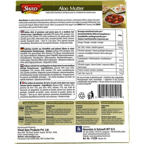 Swad Aloo Mutter Fertiggericht 300 g -2